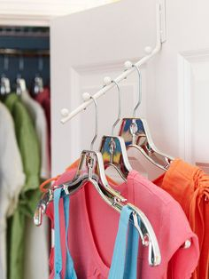 Use the DoorUse the Door        A plastic-coated over-the-door rod capitalizes on underused space inside the closet door, creating a roomy home for long garments