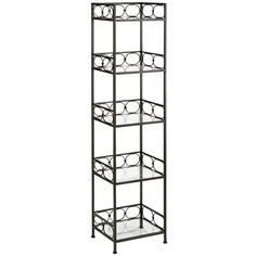A shelf that runs rings around others. How so? Sturdy, hand-wrought openwork iron construction, for starters (the better to show off your stuff). A decorative ring motif and deep bronze patina with hand-finished gold highlights. And five tempered glass shelves for extra holding power (see aforementioned stuff). Circle 'round.