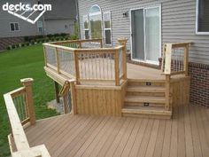 Smaller upper deck, larger lower Multi Level Deck Picture Gallery