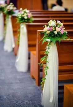 58 Ideas Wedding Ceremony Flowers Altar Church Aisle Decorations For 2019 Wedding Church Aisle, Church Wedding Flowers, Wedding Pews, Wedding Chairs, Church Pews, Wedding Walkway, Wedding Pew Decorations, Church Aisle Decorations, Wedding Centerpieces