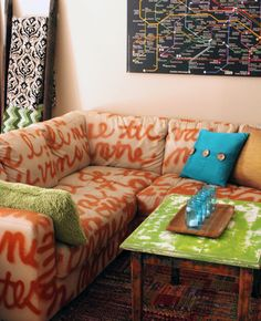 """Have a couch that is serviceable but rough on the eyes? With this DIY Home Decor project and a can of spray-paint you can take it from blah to """"Ta-Da!"""" in no"""