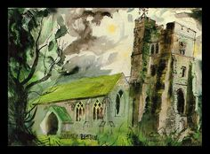 """Newchurch, Romney Marsh"" by John Piper Edward Hopper, John Piper Artist, Romney Marsh, Art Through The Ages, Building Art, A Level Art, Sense Of Place, Landscape Paintings, Landscape Art"