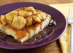 Bananas Fosters Topped Overnight French Toast #breakfast #frenchtoast #bananasfosters