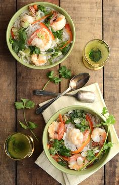 Hot and Sour Noodle Soup with Shrimp.