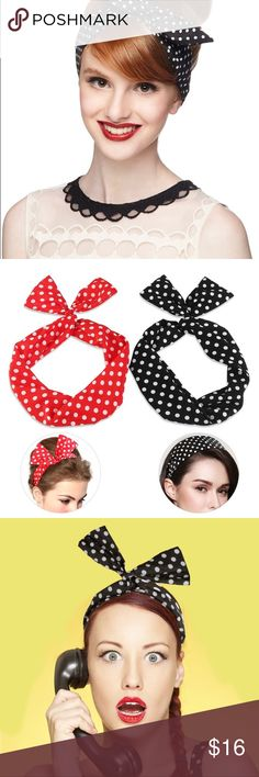 Black n White Retro Polka Dot Headband Headwrap Retro Chic Vintage appeal Retro Vintage Inspired Rosie the riveter themed Headwrap  Tie up to the desired shape then secure with hairpins  3 bobby pins/ hairpins Included along with 1 Red White Polka Dotted Headband Navy Pink Polka Dotted Headband is also available in my closet separately Accessories Hair Accessories