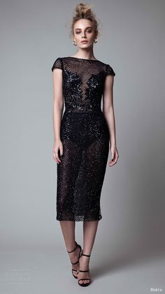 berta rtw fall 2017 (17 28) cap sleeves jewel neck below the knee beaded black evening dress mv