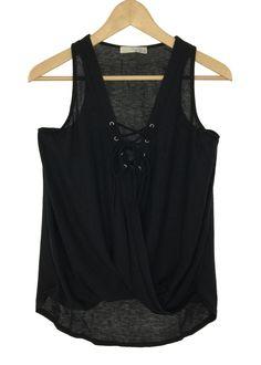 larissa lace-up top (black)
