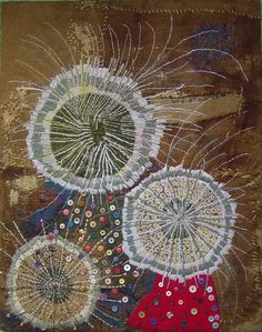 Construction 2003-4 by Elias Sime. Burlap,Yarn and Buttons  132 x 104cm