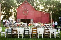 This is exactly what I want my reception. Small, rustic, simple. I love the mismatched chairs! Have the ceremony inside the barn before the sun begins to set and then have the reception as the sun is beginning to set. I kinda want to set up the wedding myself with my man and a few close friends