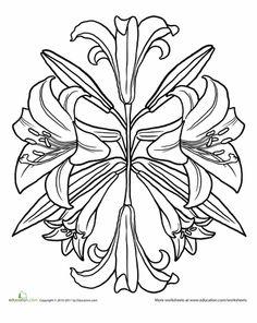 Worksheets: Lilies Mandala