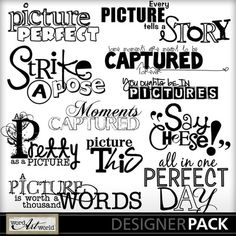 Picture It wordart pack by Word Art World by Jennifer at less at Gotta Pixel Boss Bitch Quotes, Mom Quotes, Sign Quotes, Sign Sayings, Bullet Journal Art, Bullet Journal Ideas Pages, Scrapbook Titles, Scrapbook Journal, Cricut Svg Files Free