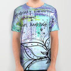 Teal Flower II All Over Print Shirts www.juliem.pro