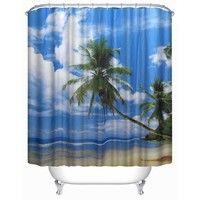 Coconut Tree Sea Landscape Shower Curtain Palm Trees Shower Curtain Waterproof Mildew Shower Curtain Polyester Fabric Bathroom Decor Curtain with 12 Hooks
