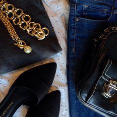 Instagram @headedoutthedoor #ootd | #oldnavy shirt | #gap sweater | BDG jeans via #urbanoutfitters | #chineselaundry flats via #Amazon | #marcjacobs bag via #Bloomingdales | #hm necklace | #jcrewfactory necklace