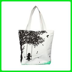 Usstore Girl On Swing Canvas Bag Casual Women Messenger Shoulder Bag Handbags - Shoulder bags (*Amazon Partner-Link)