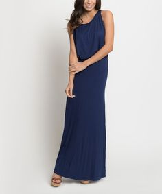 Another great find on #zulily! Navy Blouson Draped Tube Maxi Dress - Women by Caralase #zulilyfinds