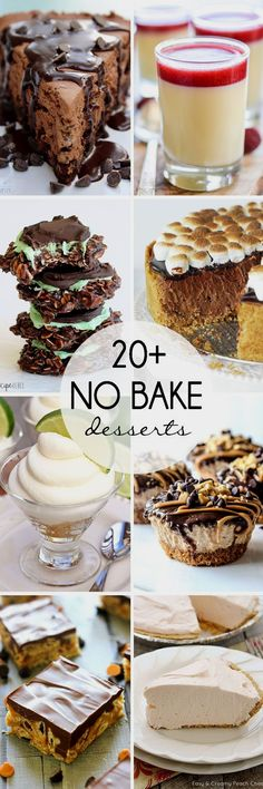 Fantastic list of 20+ No Bake Desserts. There's something for everyone here!