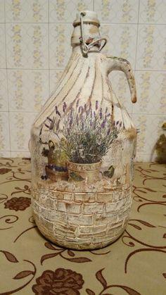 Decoupage Olive oil bottle