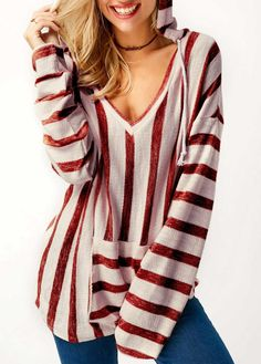 65870114bbf4 Wine Red Hooded Collar Pocket Striped T Shirt. FELICIA JACKSON · FASHIONISTA  (New Old)