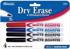 Bazic Assorted Color Fine Tip Dry-Erase Marker Case Pack 48