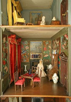 The Chinese Dressing Room,The Nostell Priory doll's house ©National Trust Images/Robert Thrift (love that wallpaper!)