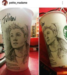 Starbucks cup drawing of Jensen Ackles as Dean Winchester.