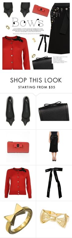 """""""Bows!!!"""" by italist ❤ liked on Polyvore featuring Dolce&Gabbana, Marc Jacobs, Chanel, Roman Luxe and Erica Anenberg"""