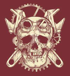 Victorian Mechanic Skull by Flame Tattoos, Skull Tattoos, Body Art Tattoos, Sleeve Tattoos, Gear Tattoo, Mechanic Tattoo, Obey Art, Pinstriping Designs, Mechanical Art