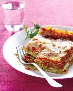 Ultimate Vegan Lasagna. Use pesto, cashew cheese, vegan sausage and vegan cheese on top.