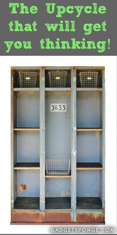 I took a vintage triple-set of lockers and converted them into a lot of open storage. Repurposed Lockers, Vintage Lockers, Metal Lockers, Metal Furniture, Repurposed Furniture, Vintage Furniture, School Lockers, Staff Lockers, Steel Cupboard