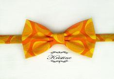 Abstract print men's bow tie yellow mustard by KristineBridal, $39.99 #cateyebowtie #abstractbowtie #orangeyellowmustard