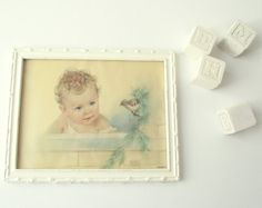 Vintage Florence Kroger Litho Print / Baby and Bird by gazaboo