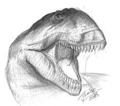 Uno de mis dinosaurios favoritos: Giganotosaurus Carolinni a lápiz