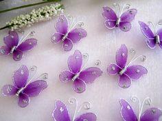 50 Nylon purple Butterfly embellissements pour papillon des faveurs, des faveurs de mariage, carte d'Invitation faisant, baptême faveurs, 1 ...