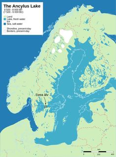 The Ancylus Lake | 9,500 and 8,000 years before present (7,500 to 6,000 BCE) shows post-glacial rebound and shore displacement of the Baltic Sea. Based on Ernman.