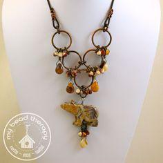 Turtle Jasper Bear Necklace