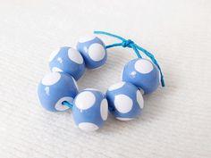 Handmade Polymer Clay Beads, Cornflower Blue, White Spots, Set of 6, Donut Round £5.70