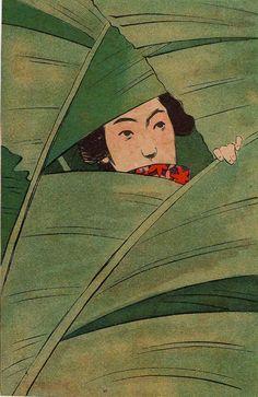 Young Woman of the Banana Leaves (Basho musume) from Ehagaki sekai Japanese Prints, Japanese Art, Illustrations, Illustration Art, Art Folder, Sketch Painting, New Wall, Aesthetic Art, Asian Art