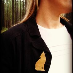 Wolf Brooch - laser cut Australian Tallowwood