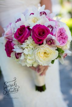 Hot pink and white wedding flowers