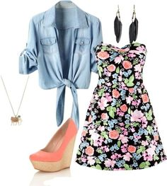 love this outfit [chambray + floral = spring]. Would totally rock my docs or chucks instead of a heel, though, most days.