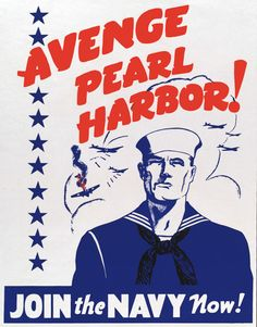 Avenge Pearl Harbor! Vintage WWII Navy recruiting poster. #poster #navy