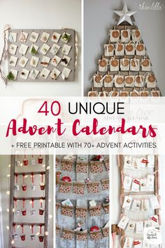Nothing builds the excitement to Christmas like Advent Calendars! Here are 40 unique and beautiful options that you can use to maximize the meaning and the enjoyment of the Christmas season! #AdventCalendar #advent #christmas #diy #activities #kids #homedecor #family #faith #printables