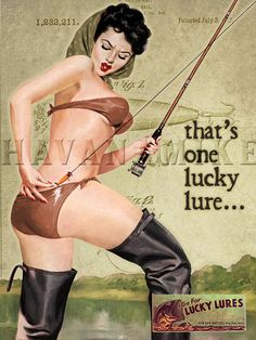 LUCKY LURES Vintage FISHING Pinup Girl Poster by CarlsonBrands, $19.95