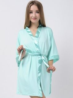 Mint Green Jersey Stretchy Robes With Satin Trim Bridesmaid Robes Cheap Robes Modal Maternity Robe Wedding Robes Bridesmaid Robes Cheap, Bridesmaid Pyjamas, Mint Green Bridesmaids, Nightwear, Satin, Gowns, Pajamas, How To Wear, Wedding