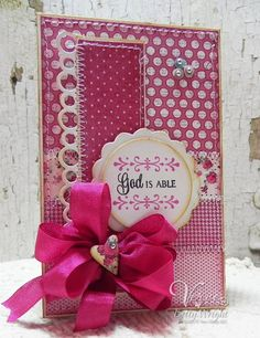 Tall Skinny card by Betty Wright using Verve's Each Day stamp set along with Verve's Cut Above Scalloped Trim Trio, Goodness Flower, and From the Heart die sets. A few of Verve's Pastel Sequin Mix and a seam binding bow in Watermelon using Verve's Truly Madly Deeply Ribbon Collection finishes the card!