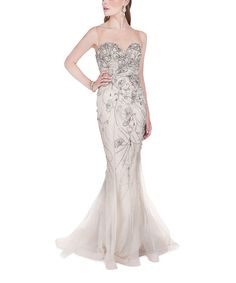 Terani Couture Nude Abstract Illusion-Neck U-Back Gown | zulily