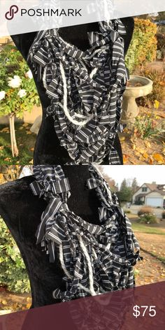 Handmade rag knotted infinity scarf Opera length Multi textured handmade infinity scarfs Second Nature Designs by cc Accessories Scarves & Wraps