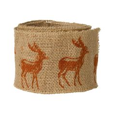 Stamps on burlap ribbon! Perfect for a Christmas tree