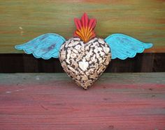 Items similar to Wood Carved Sacred Heart With Milagros Sacred Flaming Heart with tin wings on Etsy Heart With Wings, I Love Heart, Mexican Crafts, Mexican Folk Art, Fire Heart, Sacred Heart, Heart Art, Wild Hearts, Religious Art